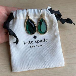 Kate Spade Emerald Tear drop earrings gold